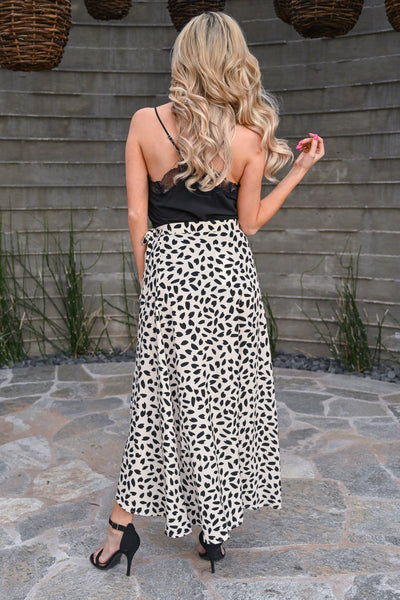 She's Wild At Heart Wrap Skirt - Latte women's flowy skirt with all over black heart print, Closet Candy Boutique 3