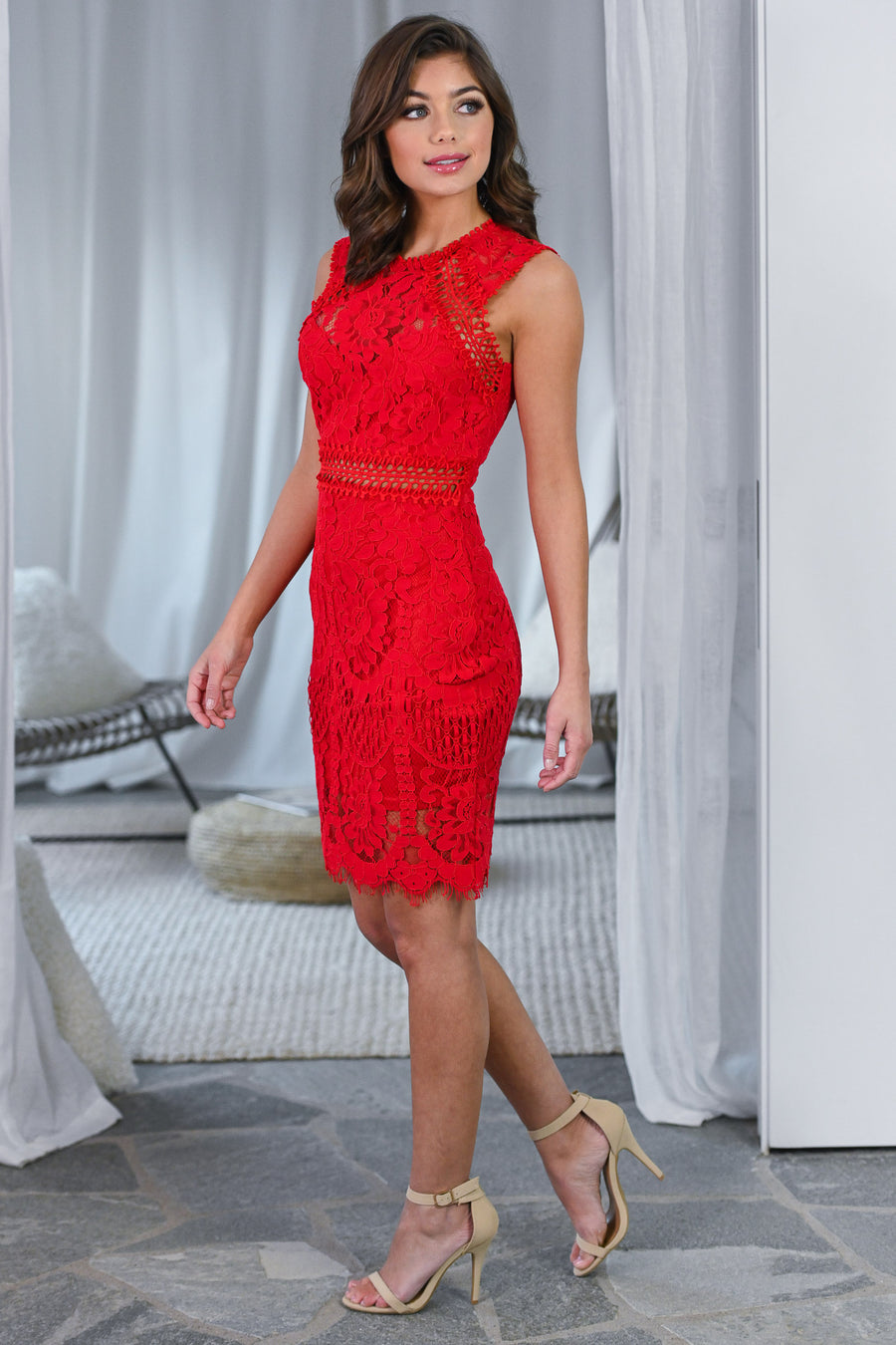 Real Life Love Story Dress - Red women's lace crochet cocktail dress, Closet Candy Boutique 1