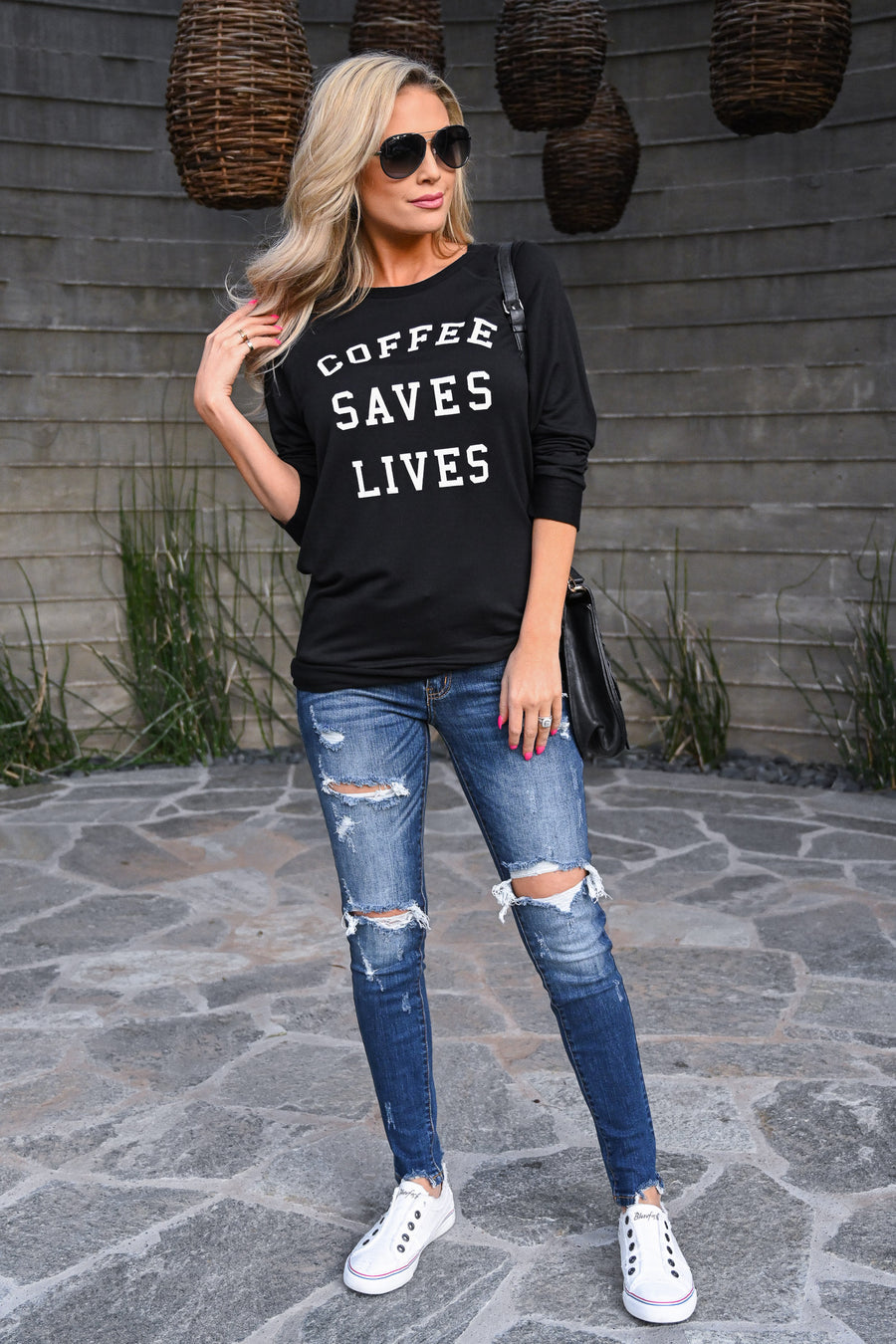 """Coffee Saves Lives"" Sweatshirt - Black women's long sleeve graphic top, Closet Candy Boutique 1"