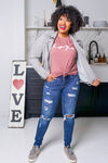 """XOXO"" Graphic Tee - Dusty Rose closet candy women's trendy round neck graphic top front 4"