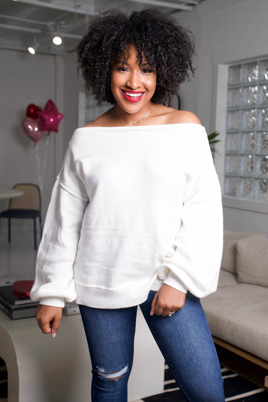 Addicted to Love Wide Neck Sweater - White closet candy women's trendy off the shoulder puff sleeve sweater front