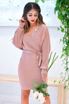 Best Day Ever Sweater Dress - Dusty Rose closet candy women's trendy ribbed sweater dress front
