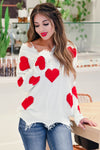 All My Love Heart Sweater - Ivory closet candy women's trendy distressed frayed v neck heart sweater front