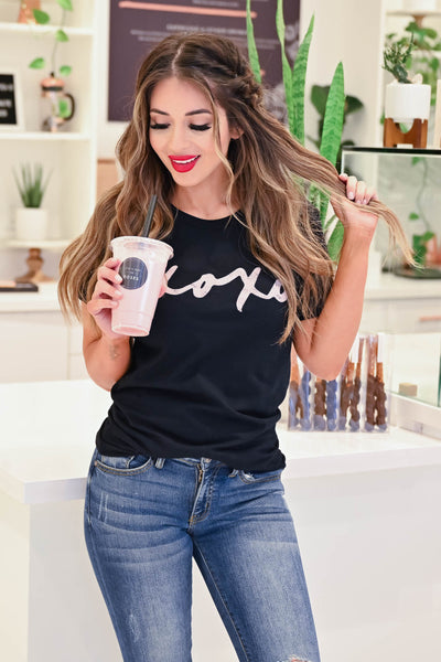 """XOXO"" Graphic Tee - Black closet candy women's trendy round neck graphic top front"