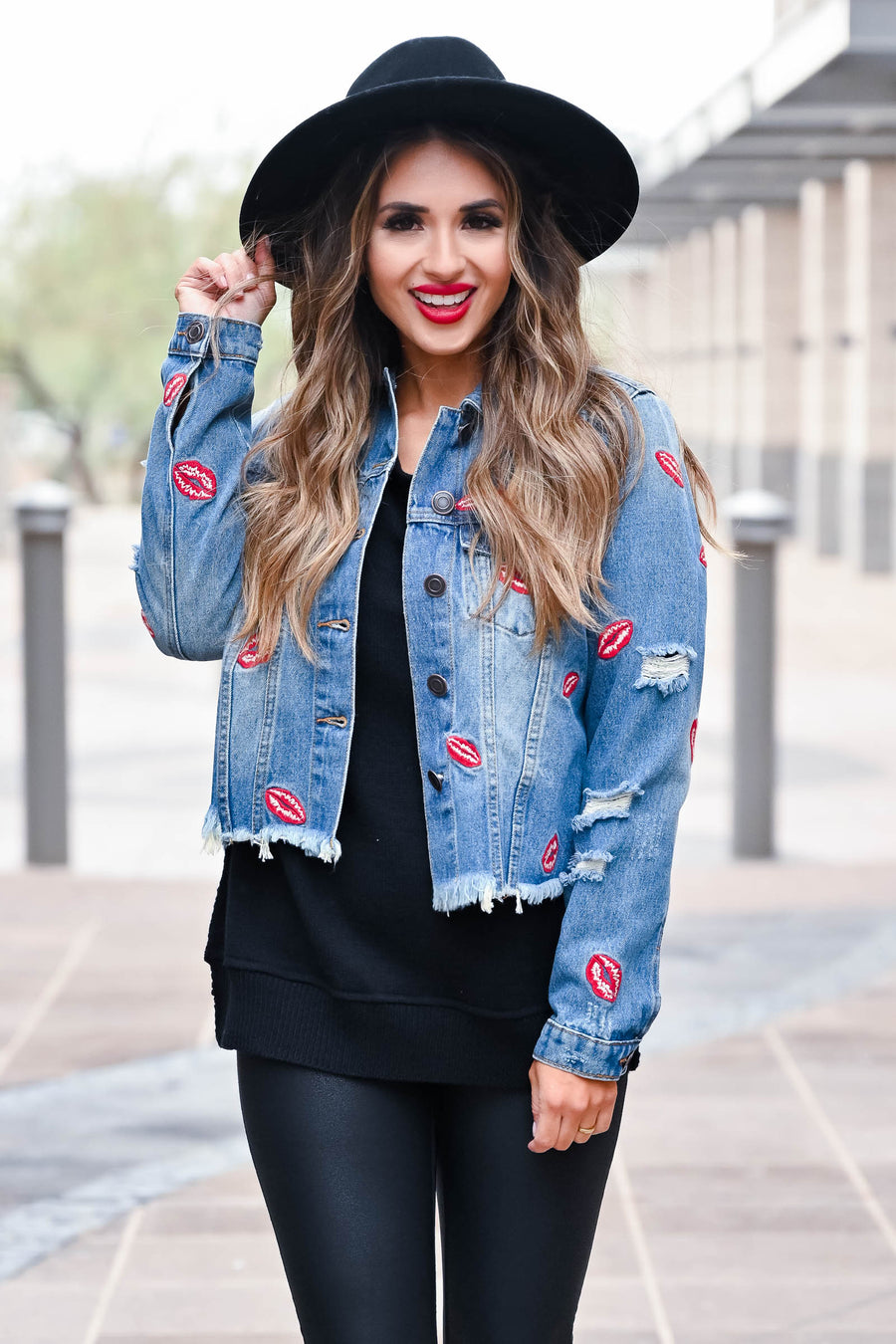 Pucker Up Denim Jacket - Medium Wash closet candy women's trendy raw hem denim jacket with embroidered lips front