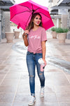 """XOXO"" Graphic Tee - Dusty Rose closet candy women's trendy round neck graphic top front 3"