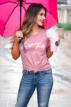 """XOXO"" Graphic Tee - Dusty Rose closet candy women's trendy round neck graphic top front 5"
