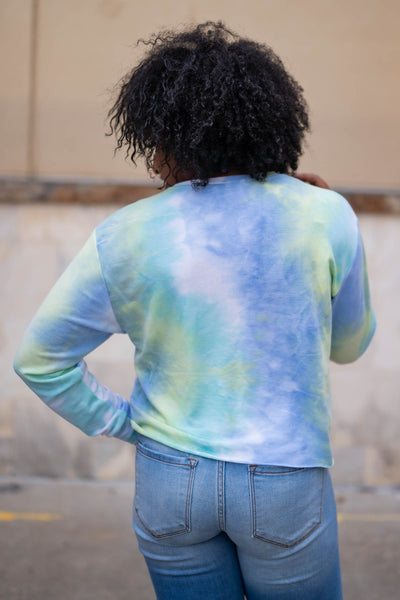 """Boss Babes Unite"" Long Sleeve Tie Dye Top - Sky closet candy womens long sleeve round neck printed shirt back"