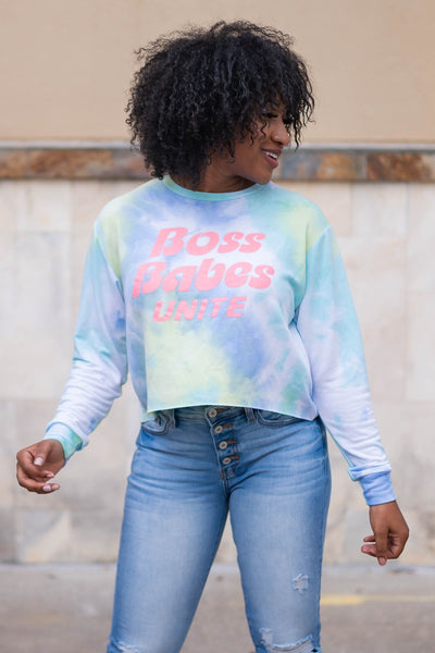 """Boss Babes Unite"" Long Sleeve Tie Dye Top - Sky closet candy womens long sleeve round neck printed shirt 1"