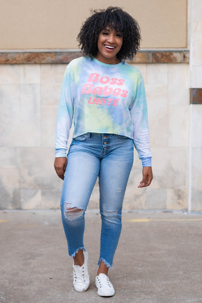 """Boss Babes Unite"" Long Sleeve Tie Dye Top - Sky closet candy womens long sleeve round neck printed shirt 2"