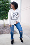 """Cozy"" Long Sleeve Graphic Top - Cream closet candy womens printed long sleeve round neck shirt 1"