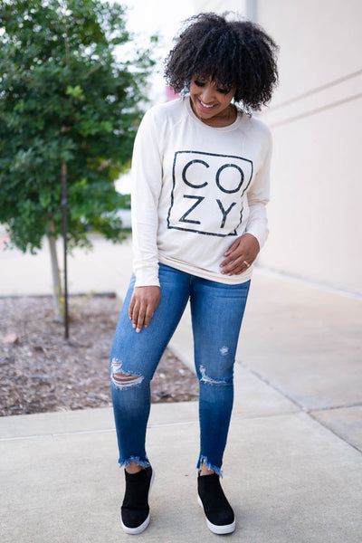 """Cozy"" Long Sleeve Graphic Top - Cream closet candy womens printed long sleeve round neck shirt 4"