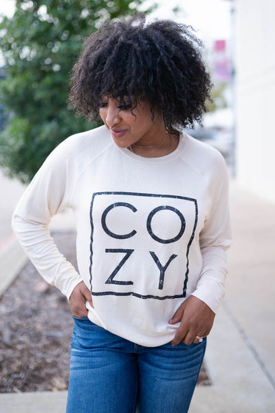 """Cozy"" Long Sleeve Graphic Top - Cream closet candy womens printed long sleeve round neck shirt 5"