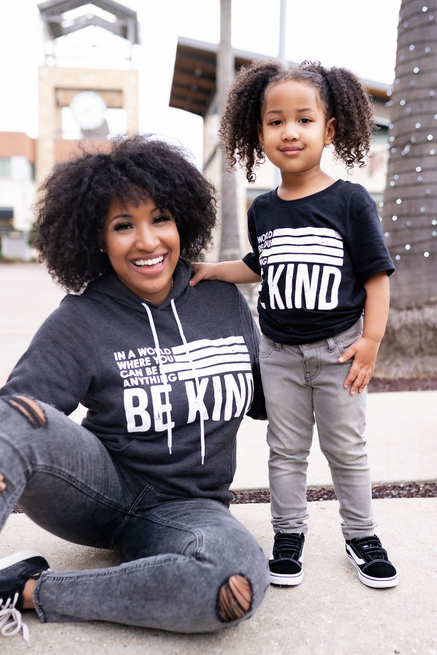"(KIDS) ""Be Anything Be Kind"" Graphic Tee - Black closet candy children's unisex printed round neck shirt 3"