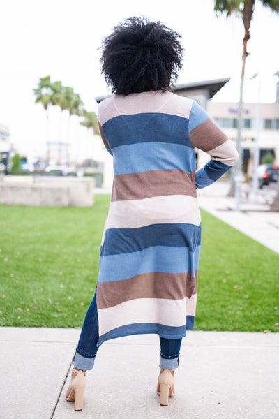 Such A Mood Striped Duster Cardigan - Blue closet candy womens long open front color block sweater back