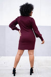 Set Your Sights Turtleneck Sweater Dress - Wine closet candy womens fitted balloon sleeve dress back