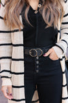Talk To Me Textured Double Ring Belt - Black closet candy trendy womens double buckle belt 1