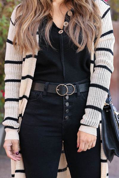 Talk To Me Textured Double Ring Belt - Black closet candy trendy womens double buckle belt 2