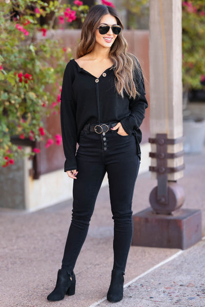 Cute As A Button Long Sleeve Top - Black closet candy womens relaxed henley top with button detail 3