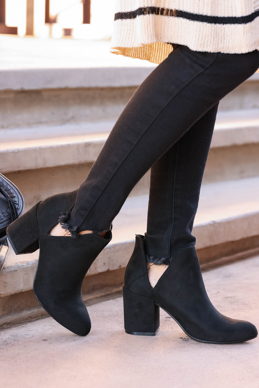 City Girl Booties - Black closet candy woemns trendy ankles boots with side slit 1