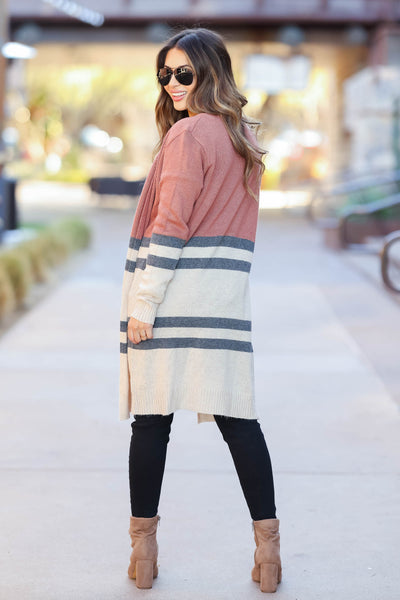 Making My Way Cardigan - Rust closet candy womens trendy color block open front sweater back