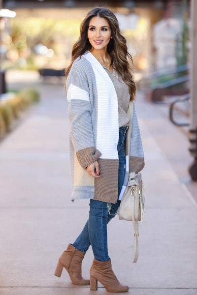 Lasting Impression Color Block Cardigan - Taupe closet candy 3