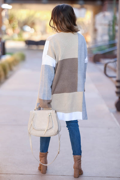 Lasting Impression Color Block Cardigan - Taupe closet candy 2