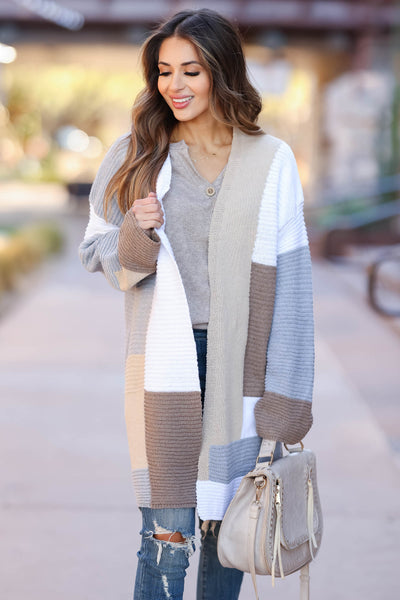Lasting Impression Color Block Cardigan - Taupe closet candy 4