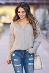Cute As A Button Long Sleeve Top - Oatmeal closet candy 1