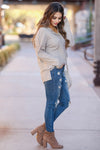 Cute As A Button Long Sleeve Top - Oatmeal closet candy 2