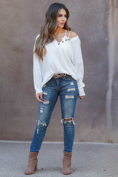 Cute As A Button Long Sleeve Top - white closet candy womens relaxed henley top with button detail 1