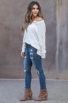 Cute As A Button Long Sleeve Top - white closet candy womens relaxed henley top with button detail side