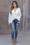 Cute As A Button Long Sleeve Top - white closet candy womens relaxed henley top with button detail 2
