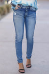 KAN CAN Jess Distressed Skinny Jeans - Medium Wash closet candy trendy womens denim 1