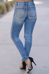 KAN CAN Jess Distressed Skinny Jeans - Medium Wash closet candy trendy womens denim back