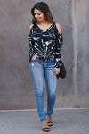CBRAND Create Your Destiny Cold Shoulder Top - Black closet candy trendy unique womens v-neck long sleeve shirt 2