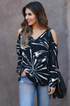 CBRAND Create Your Destiny Cold Shoulder Top - Black closet candy trendy unique womens v-neck long sleeve shirt 3