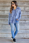 Low Key Distressed Plaid Shirt - Cobalt closet candy womens flannel  button up shirt 3