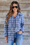 Low Key Distressed Plaid Shirt - Cobalt closet candy womens flannel  button up shirt 2
