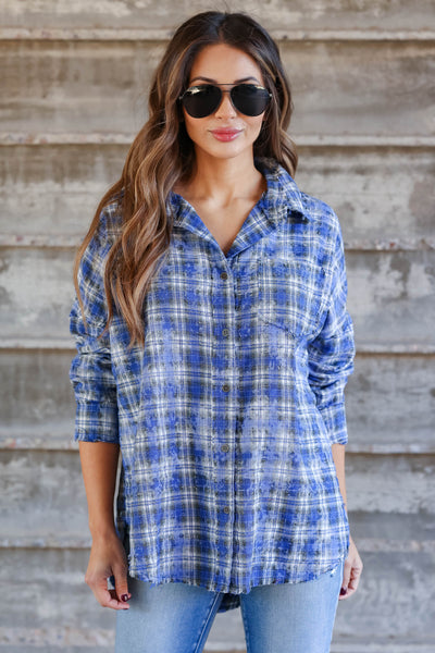 Low Key Distressed Plaid Shirt - Cobalt closet candy womens flannel  button up shirt 4