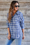 Low Key Distressed Plaid Shirt - Cobalt closet candy womens flannel  button up shirt 1
