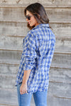 Low Key Distressed Plaid Shirt - Cobalt closet candy womens flannel  button up shirt back