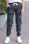 Give It A Rest Camo Joggers - Charcoal closet candy womens fitted printed lounge pants with drawstring 3