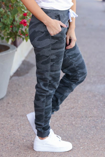 Give It A Rest Camo Joggers - Charcoal closet candy womens fitted printed lounge pants with drawstring 1