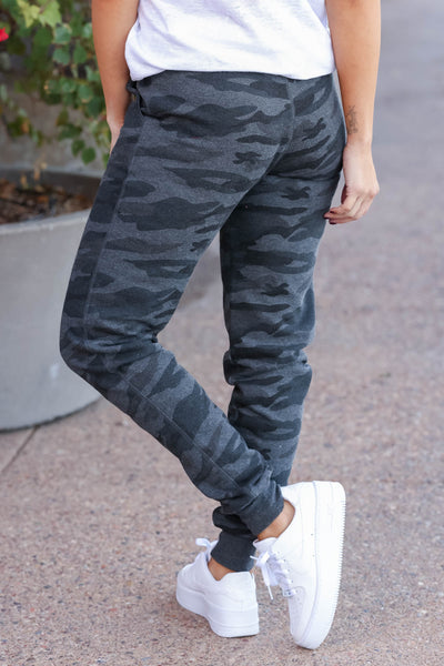 Give It A Rest Camo Joggers - Charcoal
