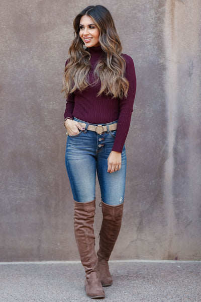 This Time Around Turtleneck Bodysuit - Merlot closet candy womens ribbed fitted bodysuit 1