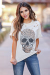 Skull Distressed Leopard Graphic Tee - Khaki closet candy womens distressed round neck shirt 1