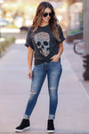 Skull Distressed Leopard Graphic Tee - Black