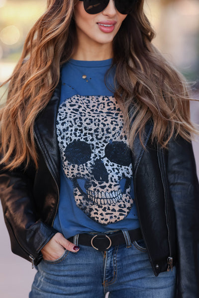 Skull Distressed Leopard Graphic Tee - Indigo closet candy womens distressed printed round neck shirt 1