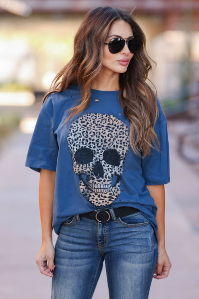 Skull Distressed Leopard Graphic Tee - Indigo closet candy womens distressed printed round neck shirt 3